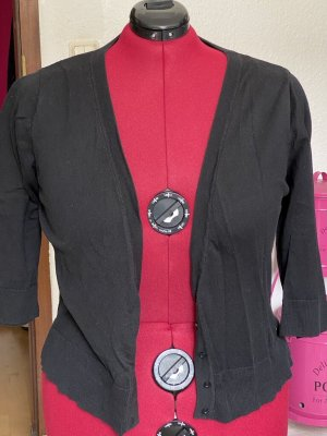 Short Sleeve Knitted Jacket black polyacrylic