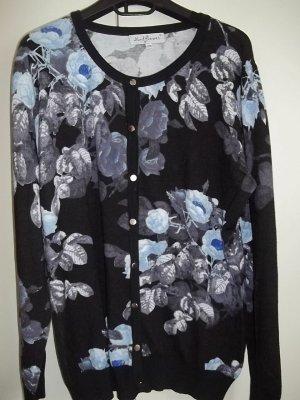 Strickjacke schwarz blaue Blumen Gr 46 Romantisch