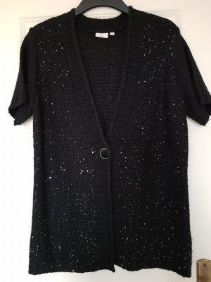 Laura Torelli Short Sleeve Knitted Jacket black polyacrylic