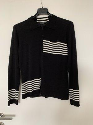 Strickjacke schwarz mit weißen Streifen gr 42