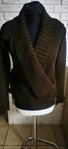 Knitted Wrap Cardigan dark brown-black brown