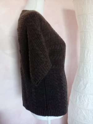Takko Fashion Short Sleeve Knitted Jacket grey brown-brown polyester