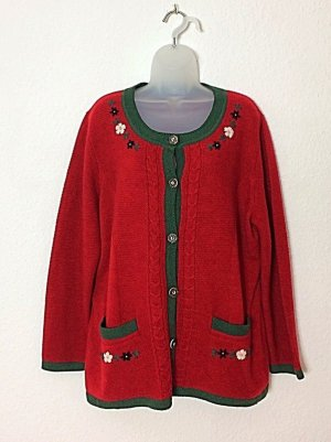 Strickjacke Trachtenjacke rot mit Stickerei Gr. 46 oversized Blogger Grandma Sweater