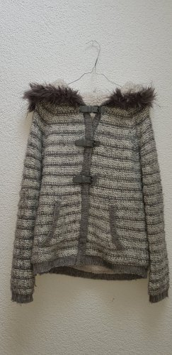 Bershka Coarse Knitted Jacket light grey-grey