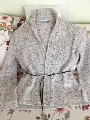 Essentials oui Veste tricotée en grosses mailles gris clair laine