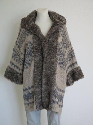 Zara Knit Norweska dzianinowa kurtka jasnobrązowy-piaskowy brąz Poliakryl