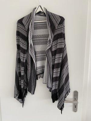 Laura Torelli Knitted Wrap Cardigan black-white