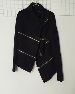 Barbara Bui Veste tricotée en grosses mailles noir-argenté laine