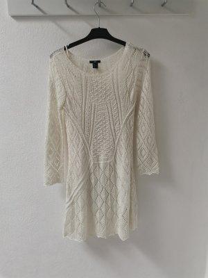 Robe en laine blanc cassé