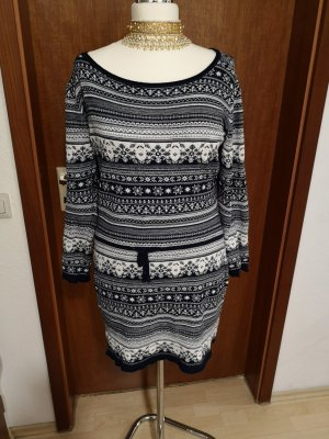 AJC Knitted Dress natural white-dark blue