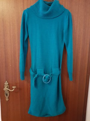 Robe en laine bleu pétrole-bleu cadet