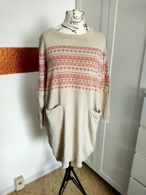 b.p.c. Bonprix Collection Abito di maglia bianco sporco-rosa pallido Cotone
