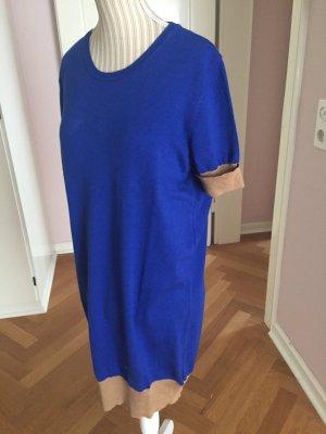 Massimo Dutti Vestido tipo jersey azul-marrón arena Seda