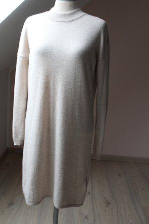 Strickkleid Merino Wolle hochwertig  beige neu Gr.  40 42 Langarm