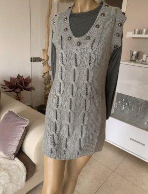 Strickkleid .. Mini .. Tunika .. grau .. Gr. S/M # Fashion Elle # NEU