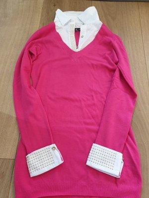 strickkleid mit eingenähter nietenbluse
