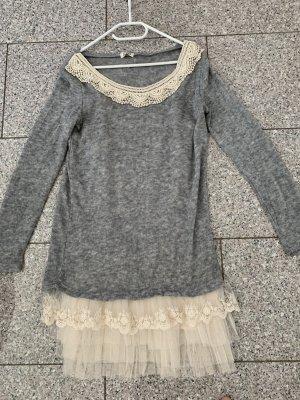 19V69 ITALIA Gebreide jurk zilver-wolwit