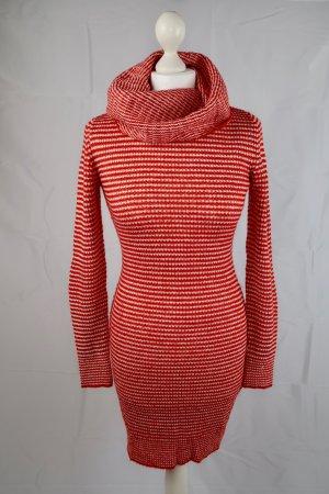 H&M Robe en maille tricotées rouge-blanc acrylique