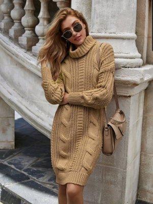 SheIn Wollen jurk zandig bruin