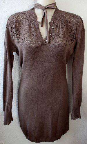 Silvian heach Robe en maille tricotées gris brun tissu mixte