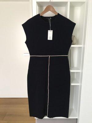 COS Gebreide jurk wit-donkerblauw