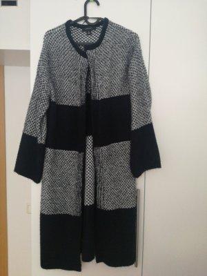 Atmosphere Manteau en tricot blanc cassé-bleu foncé