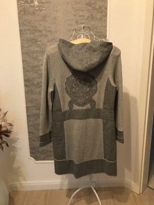 Passport Knitted Coat silver-colored-dark grey wool