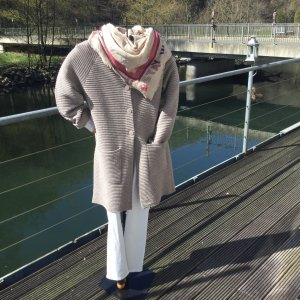 Cassis Knitted Coat beige mixture fibre