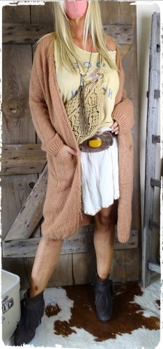 hippie chick ibiza Manteau en tricot marron clair