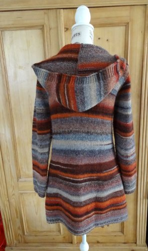 Hallhuber Knitted Coat orange-silver-colored mixture fibre