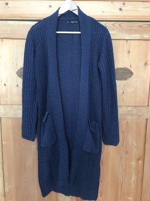 Mango Basics Płaszcz z dzianiny niebieski-ciemnoniebieski Poliakryl