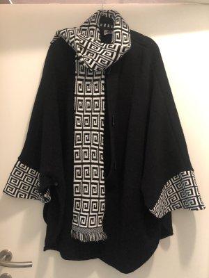 Płaszcz z dzianiny czarny-biały