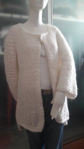 Abrigo de punto blanco puro mohair