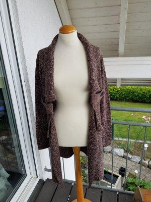Manteau en tricot brun-blanc cassé