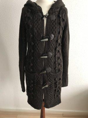 Only Manteau en tricot brun foncé-brun noir