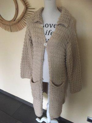handmade Manteau en tricot beige