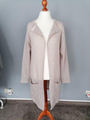 Strickmantel rosa metallic Wolle 100% Handarbeit