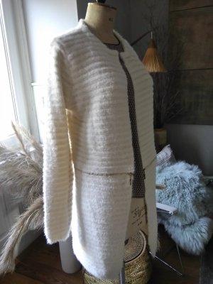 Abrigo de punto color oro-blanco puro