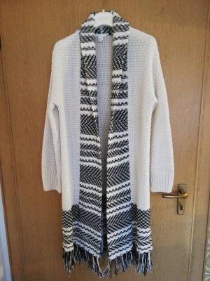 H&M Abrigo de punto negro-blanco puro