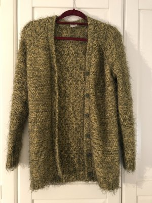 Strickmantel Strickjacke grün gelb