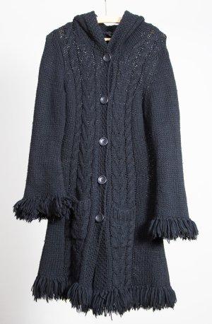 Oui Set Knitted Coat dark blue polyacrylic
