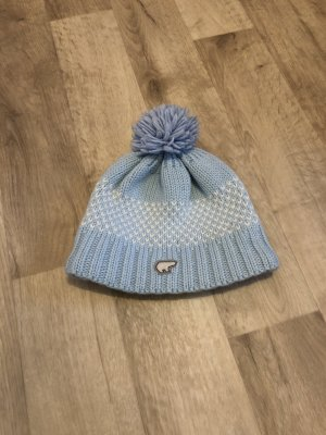 Eisbär Bobble Hat azure-white wool