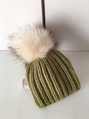 handmade unikat Sombrero de punto gris verdoso