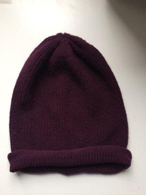 Manguun Chapeau en tricot brun pourpre-violet acrylique