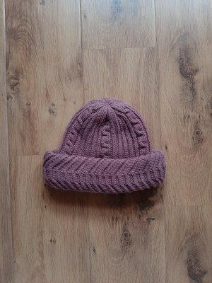 Unbekannte Marke Chapeau en tricot vieux rose