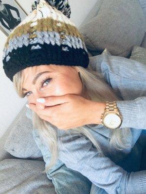 ⋙•-•-•-•➤Strickmütze Blogger Mütze Häkelmütze Pudelmütze  Bommel Tricolor warm & kuschelig Blogger Winter Mütze PongPong