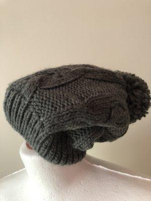 Primark Bonnet à pompon gris-blanc cassé