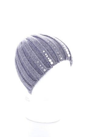 Strickmütze grau Perlenverzierung