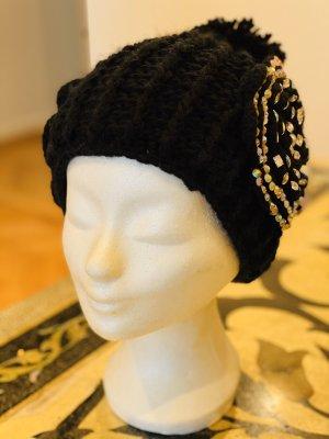 Cappello a maglia nero-argento