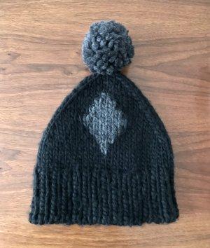 Zara Cappello a maglia nero-grigio Lana